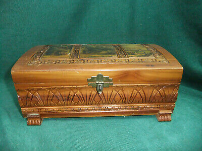 Vintage Ornate Carved Cedar Wood Jewelry Box Chest Mirror with country scene