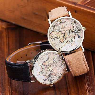 Elegant Women Fashion World Map Leather Strap Analog Quartz Buckle Wrist Watch f