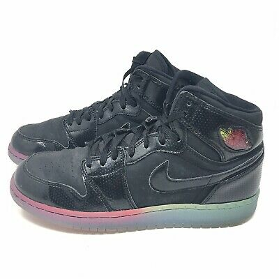 9e8df647f1716d Nike Air Jordan 1 Retro Hi Premium Black Rainbow Sole Size 7Y Basketball  Shoes