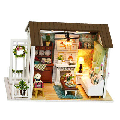 1/24 Dollhouse Kits Miniature Diorama DIY - Vintage Living Room w/ Furniture