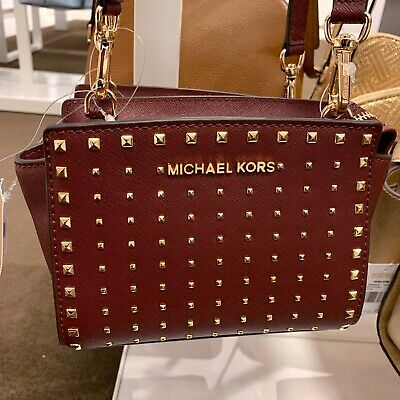 8058b8c4f42714 Michael Kors Selma Mini Crossbody Stud Saffiano Leather Bag XS Merlot