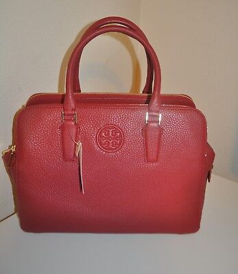 ed558db417 NEW  495+ Tory Burch MARION Triple Zip Satchel Bag Pebbled RED Leather  Handbag