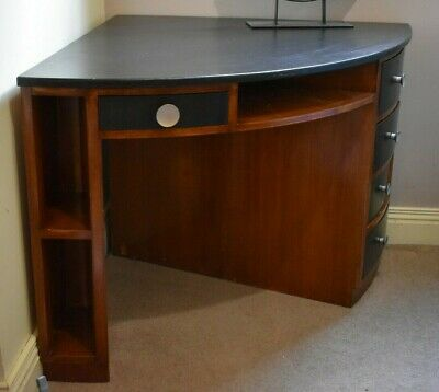 Unique, one of a kind 1950/60s Mid century 1/4 round corner desk, solid timber