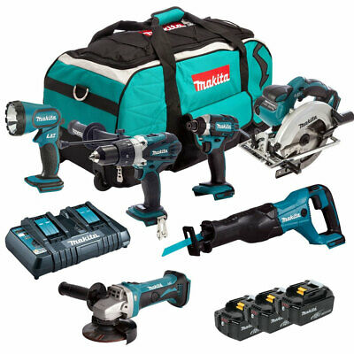 Makita DLX6072PT 18V LXT 6 Piece Kit 3 x 5.0Ah Batteries With Twin Charger & Bag