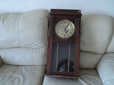 Victorian Large Wooden Cased  Clock With Chain Pendulum & Key