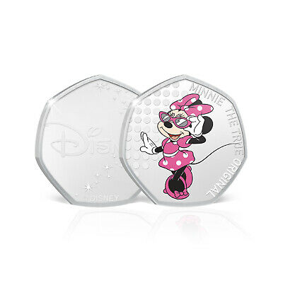 Minnie Mouse Disney Gifts 50p Shaped Collectable Silver Coin - Minnie Bow-tique
