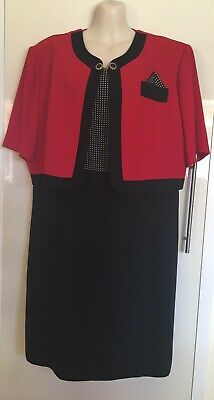 Vintage Retro Dolina 1980's 80's Red & Black Dress With Brooch & Hanky Size 18