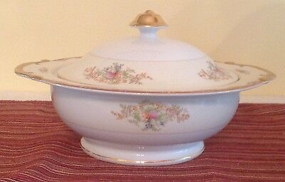 Occupied Japan Grace China Carter Pattern Round Covered Vegetable Dish W/gold