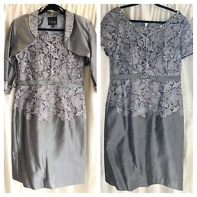 Mascara Mother Of Bride Lace Grey Silver Dress Suit Weddings/Occasions Size 18