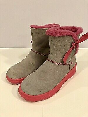 7e28d75a6f8a I Love UGG Gray and Pink Sherpa Lined Ankle Boots Women's Size 7