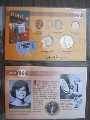 1964 Birth Year 5 Coin Set with Display Pages - 3 Coins Are 90% Silver