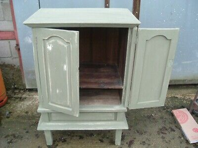 Antique french painted pine housekeepers cupboard