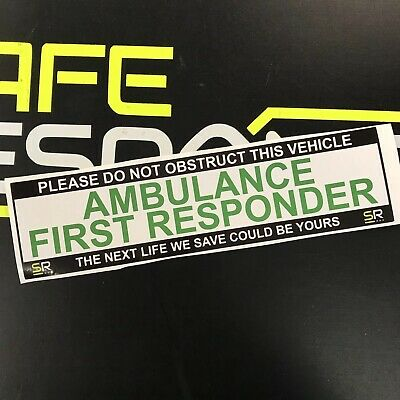 Sticker 245mm AMBULANCE FIRST RESPONDER On Call Sign Car Van Emergency ST24527