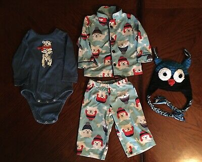 baby Lot clothes boy 12 Month Winter Pajamas One Piece Hat Polar Bear Seal