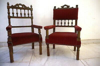 2 Antike Stühle Kinderstühle massiv Holz old chair pair chaise Stuhl Intarsien