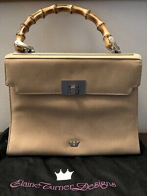 d6615e8bab Elaine Turner Designs Beige Leather Handbag Bamboo Handle Made In Italy
