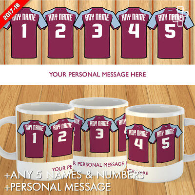 Personalised West Ham United Mug Football Gift Dressing Room 2017-18 Custom