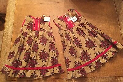 2 Identical April Cornell NWT New Christmas Holiday Dresses Twin Girls 18 24 Mo