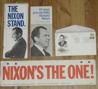 1968 Richard Nixon campaign stuff & Inauguration Day '69 postmarked envelope