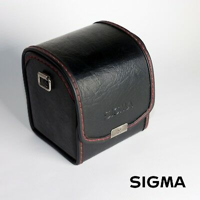 SIGMA Square Leather Lens Case NC-30 Black with Red stitching + strap