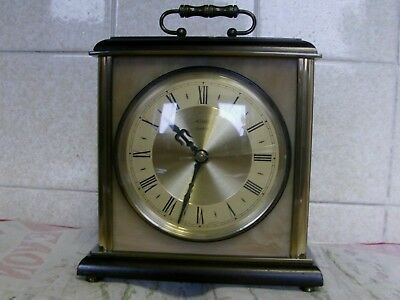 Vintage Retro 1960s Metamec Quartz Mantle Carraige Clock Brass Green Onyx.