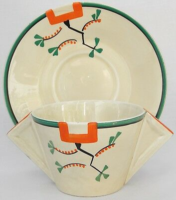 Clarice Cliff Ravel Pattern Conical Soup Cup and Saucer