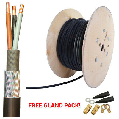 ALL LENGTHS SWA Steel Wire Armoured 3 Core 1.5mm 2.5mm 4mm Outdoor Cable +Gland