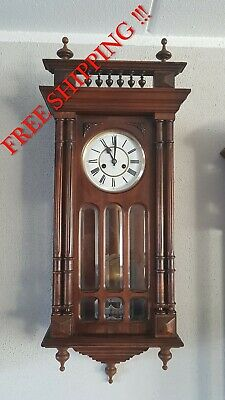 0161- Antique German Junghans  wall clock Henry II style
