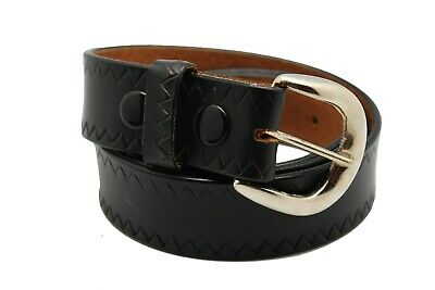 Black Pure Leather Waist Belt for Men's Big & Tall Jeans Sizes Removable Buckle