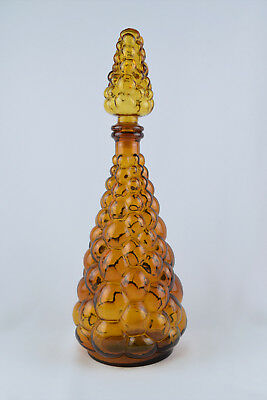 """Vintage Signed Made in Taiwan Amber 15.75"""" Bubble Genie Bottle Decanter"""