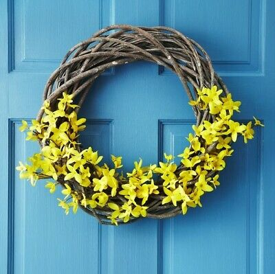 Gisela Graham Large Natural Wicker Round Wreath. Decorate Home Craft. 50cm