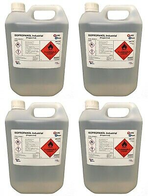IPA 100%| 4 X 5 LITRE | Lab | Isopropyl Alcohol/Isopropanol (99%)RUBBING ALCOHOL