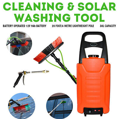 6M Telescopic Water Fed Pole &30L Water Tank Window Solar Panel Cleaning Trolley