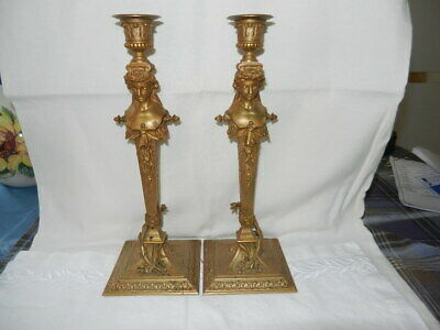 Pair of French Empire style Gilt Bronze  Candelabra