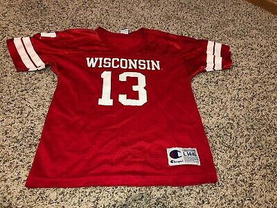 Wisconsin Badgers  1 Adidas Football Jersey Sz Youth L 14-16 Large Red 4eb5ff020