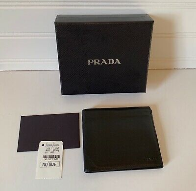 63c75bf41ae495 PRE-OWNED AUTHENTIC PRADA saffiano Leather Bifold Men Wallet Black ...
