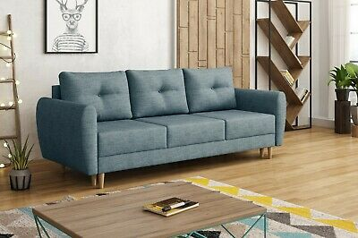 RETRO 3 SEATER SOFA BED blue jeans  8 working days delivery/SPRUNG SEAT