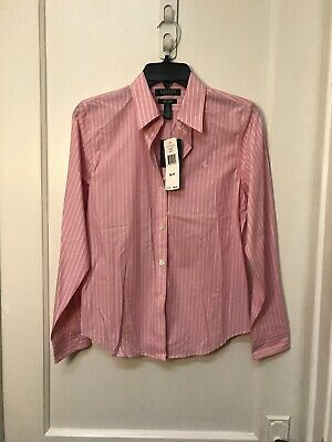 Ralph Lauren Button Down Non-Iron Womens Shirt New Size M Petites $95.50