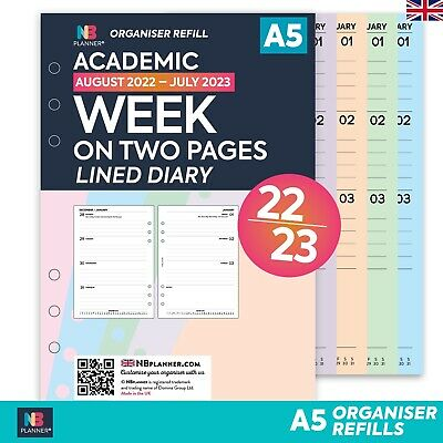 Academic 2019-2020 Week on two pages diary FILOFAX A5 / PERSONAL Compatible