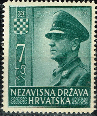 Croatia-Germany Axis WW2 Leader Ante Pavelic stamp 1943 MLH
