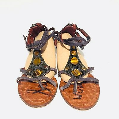 5faa0054a397 Sam Edelman Daisy Gladiator Sandals Brown Blue Leather Jeweled Women Size  8.5 M