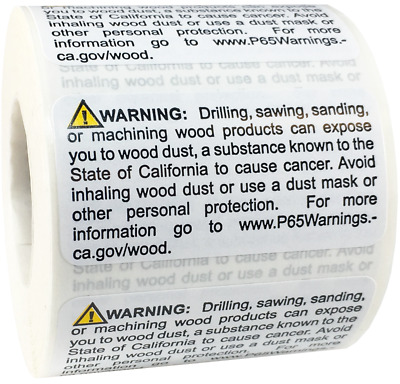 California Proposition 65 Contains Wood Dust Stickers, 1 x 2 Inches, 500 Labels