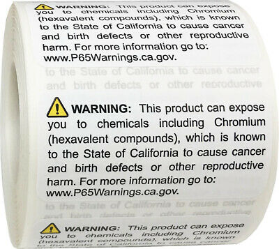 California Proposition 65 Contains Chromium Stickers, 1 x 2 Inches, 500 Labels