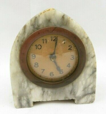 Small Antique French Alarm Clock Made In France Gray Marble Art Deco
