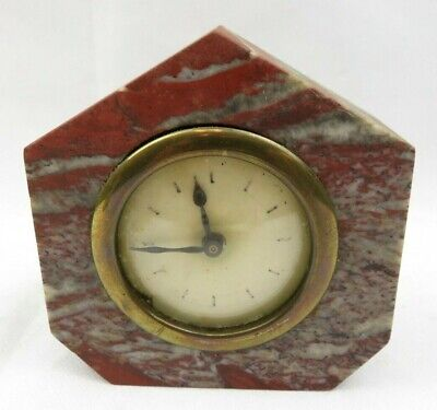 Small Antique French Alarm Clock Made In France Red Marble Art Deco