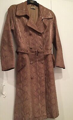 Vintage Leather Trenchcoat, Snakeskin Print
