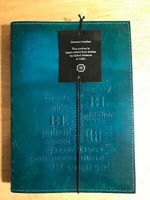 "5"" x 7"" Small Handcrafted Leather Journal in Teal Blue  Imprinted"