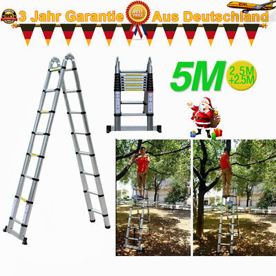 16.4Ft Telescopic Aluminum Extension Step Ladder Max Inspection Roofing DE DHL