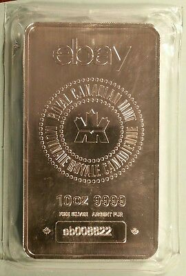 10 Troy oz. Royal Canadian Mint/EBAY .9999 Silver Bullion Bar