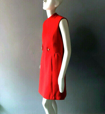 1960s Bright Red Wool Sheath Dress sz XS S 60s Vintage Norell Era Betty Draper